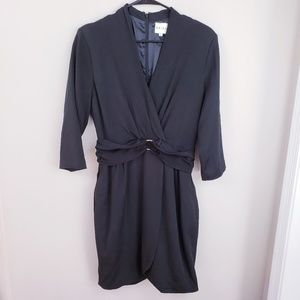 REISS black long sleeve body con V-neck dress